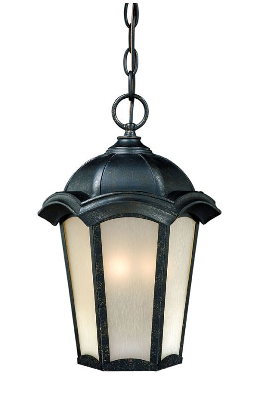 "Vaxcel Lighting CE-ODU090 Chloe 3 Light 14"" Outdoor Pendant Gold Stone"