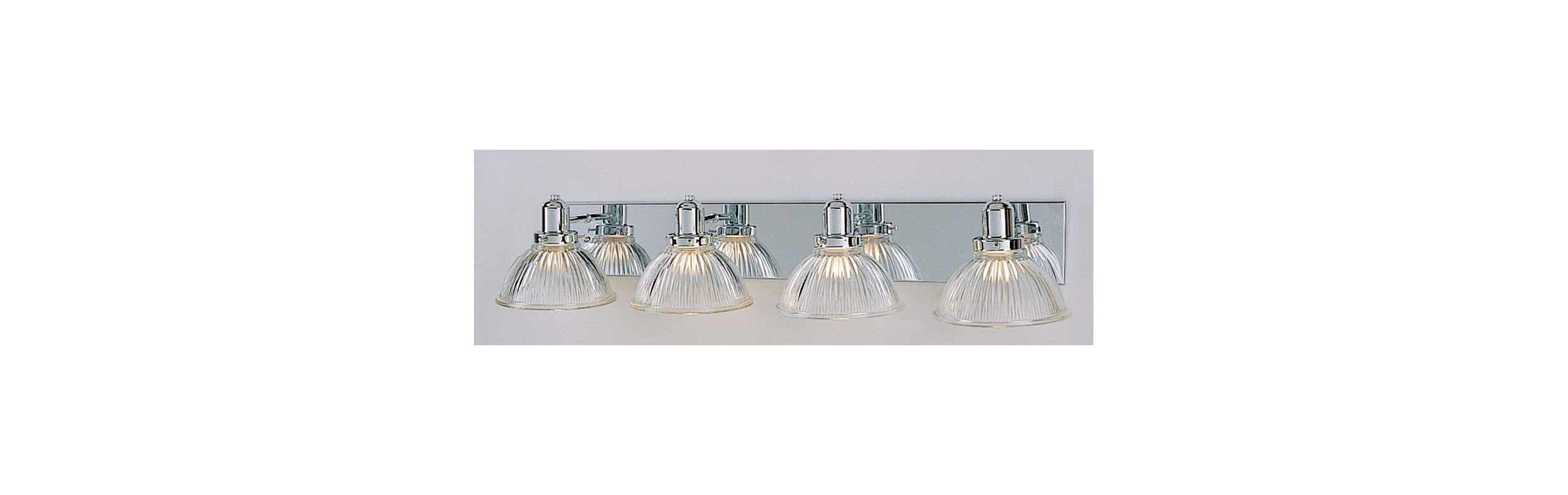 Clear Glass Vanity Light Shades : Volume Lighting V1304-3 Chrome 4 Light 30
