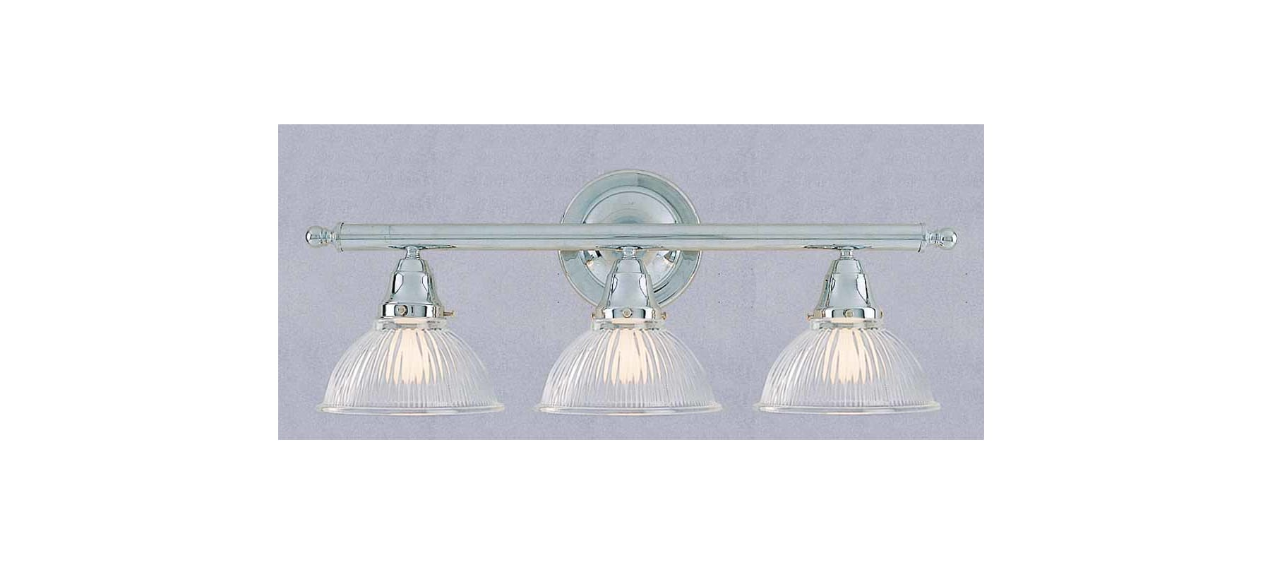 """Classic Dome Shade 3 Socket Vanity Light: Volume Lighting V1633-3 Chrome 3 Light 24"""" Width Bathroom"""