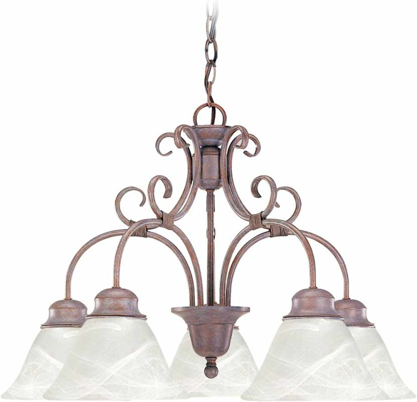 Volume Lighting V2145 5 Light 1 Tier Chandelier with Alabaster Glass