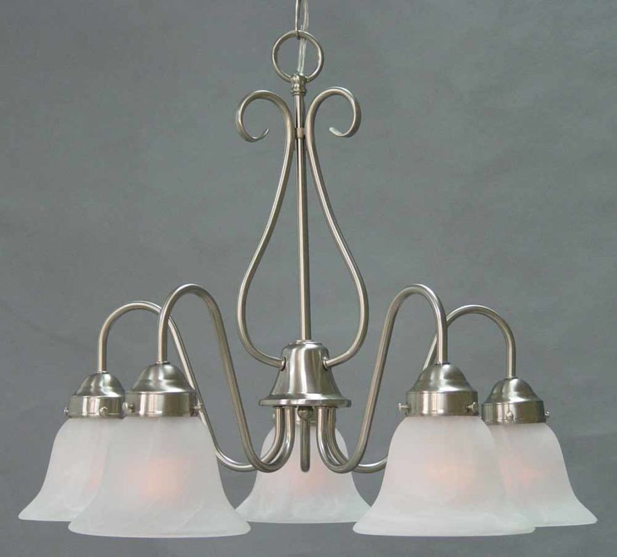 Volume Lighting V2355 Minster 5 Light 1 Tier Chandelier with Alabaster