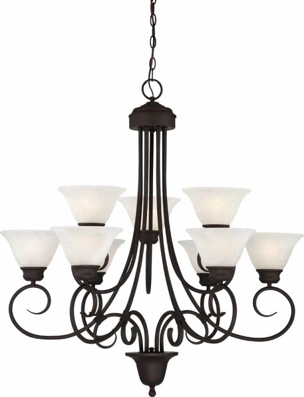 Volume Lighting V2539 Troy 9 Light 2 Tier Chandelier with Alabaster