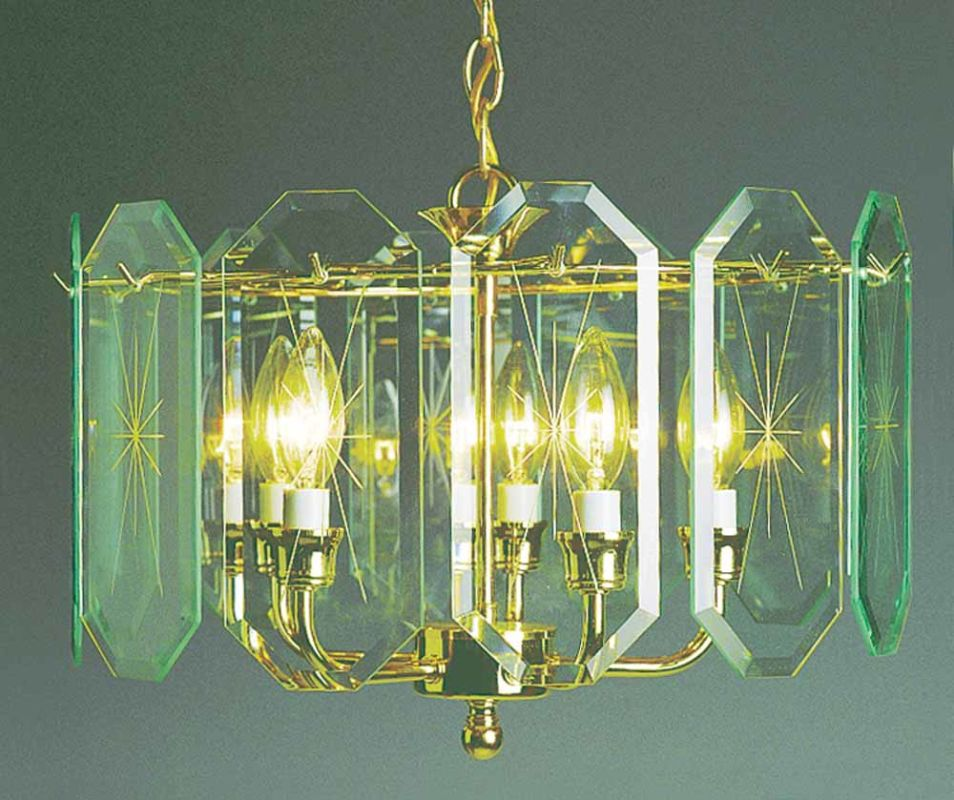 Volume Lighting V3195 5 Light 1 Tier Chandelier with Beveled Glass