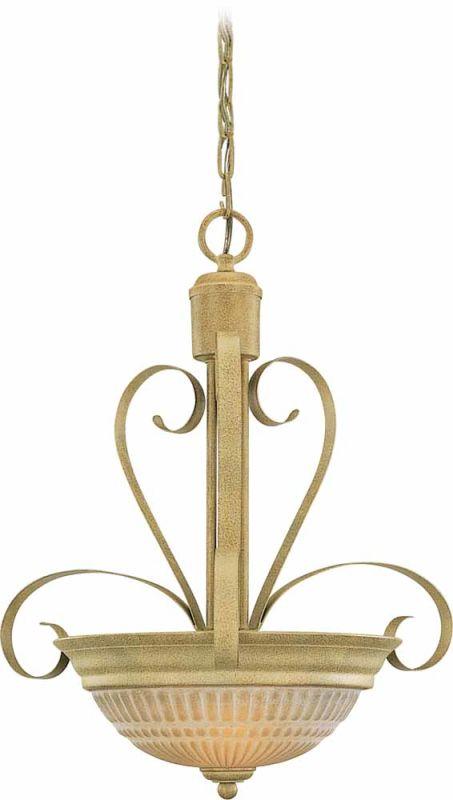 Volume Lighting V3322 Florentia 2 Light Bowl Shaped Pendant Golden
