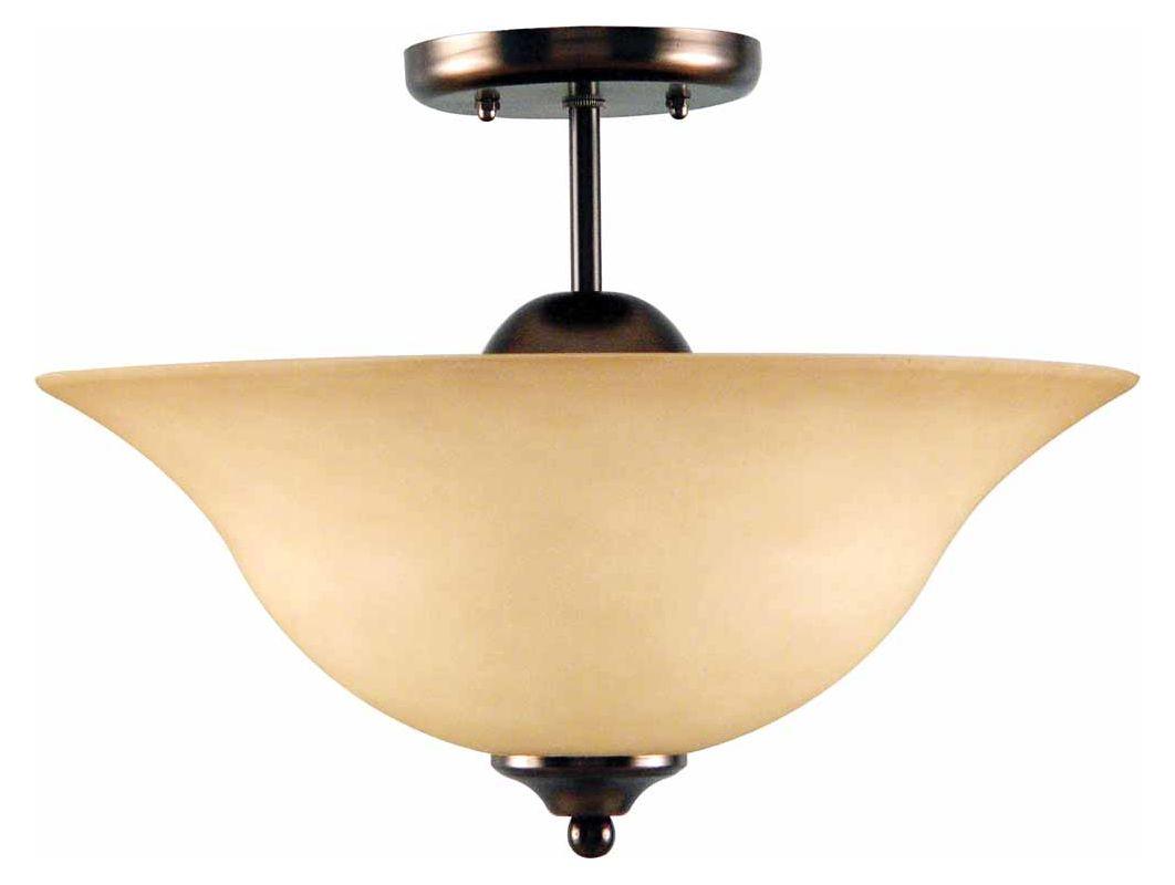 """Volume Lighting V3343 Minster 3 Light 12"""" Height Semi-Flush Ceiling"""