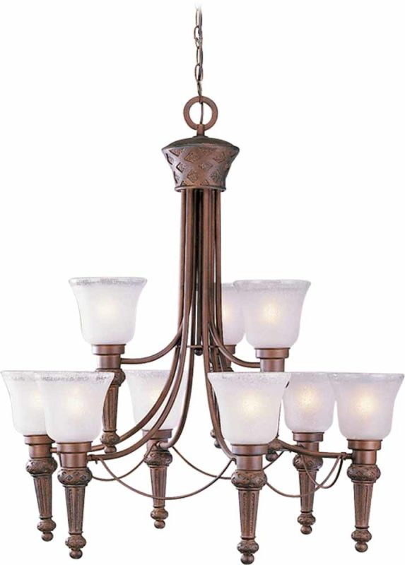Volume Lighting V3419 Alexandria 9 Light 2 Tier Chandelier with Etched