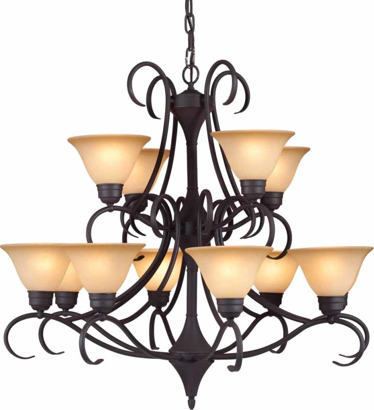 Volume Lighting V3882 Windsor 12 Light 2 Tier Chandelier Antique