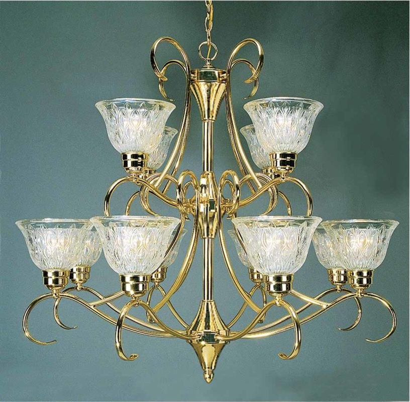 Volume Lighting V3992 Versailles 12 Light 2 Tier Chandelier Polished