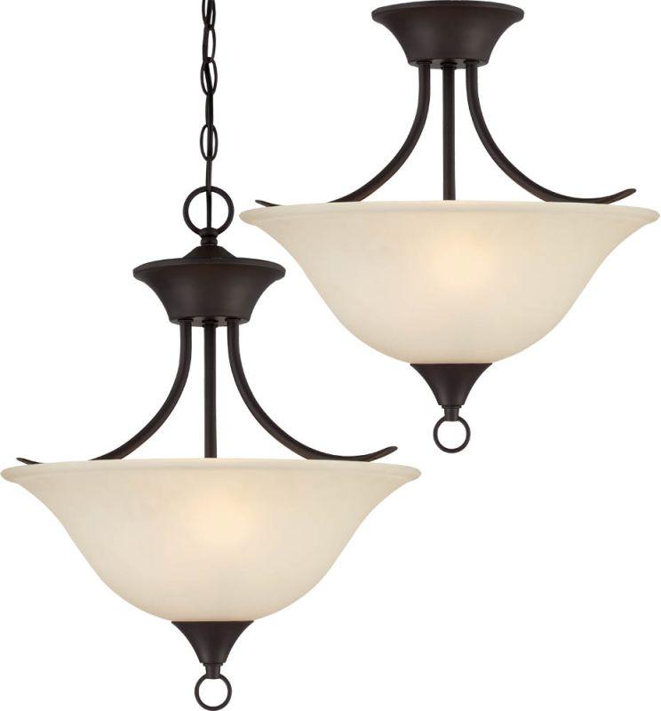 Volume Lighting V5472 Trinidad 2 Light Bowl Shaped Pendant Antique