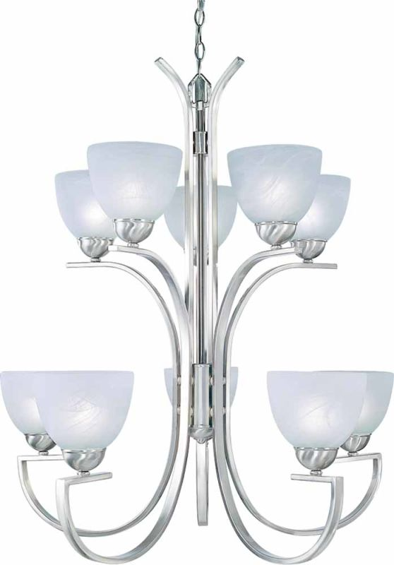 Volume Lighting V7240 Chicago 10 Light 2 Tier Chandelier Brushed