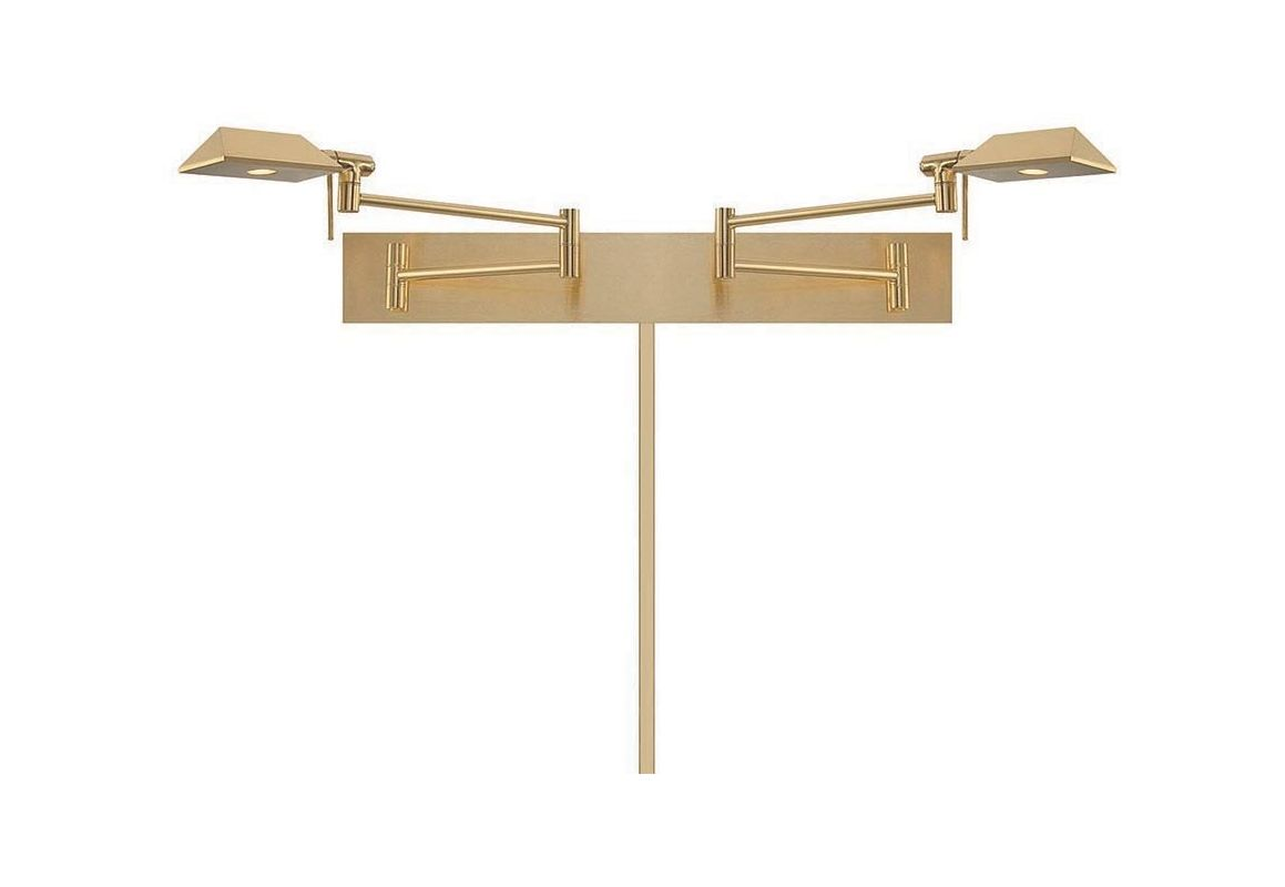 WAC Lighting BL-1327-BR Brushed Brass Cue 22u0026quot; Reach LED Swing Arm Wall Sconce Double Headed Damp ...