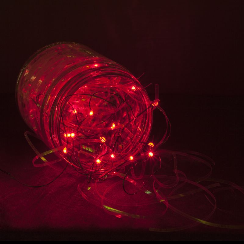 Wintergreen Lighting 50931 18 Bulb Battery Operated Red Fairy LED