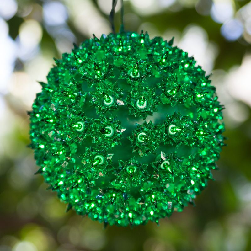 "Wintergreen Lighting 70191 7.5"" Starlight Sphere with 100 Green Lights"