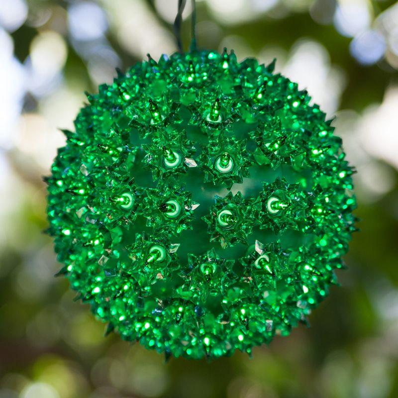 "Wintergreen Lighting 70191 7.5"" Starlight Sphere with 100 Green Lights"