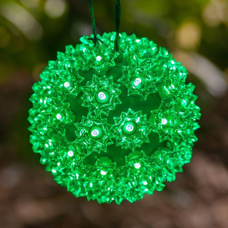 "Wintergreen Lighting 70273 7.5"" LED Starlight Sphere with 100 Green"