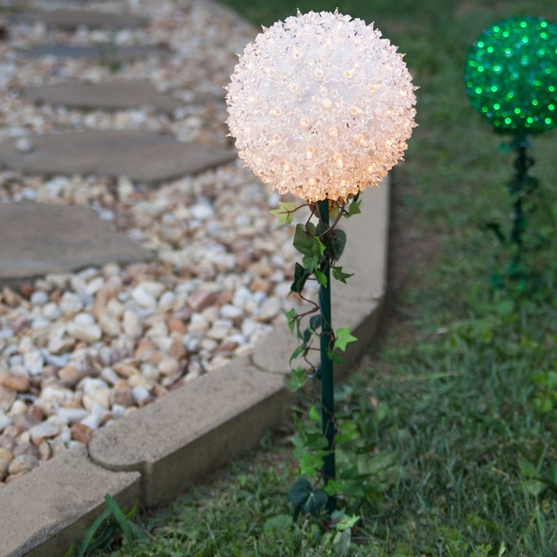 "Wintergreen Lighting 70354 7.5"" Starlight Sphere on a stake with 100"