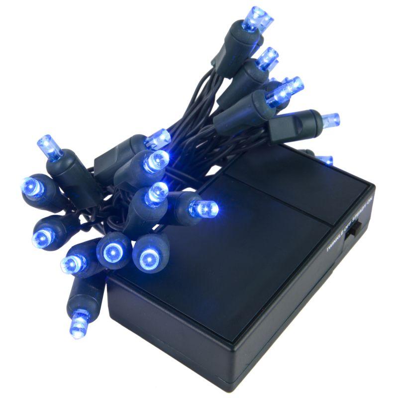 Wintergreen Lighting 19258 20 Bulb Battery Operated Blue 5mm LED