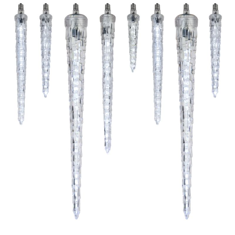 "Wintergreen Lighting 21059 9"" C7 Falling Icicle Cool White LED Light -"