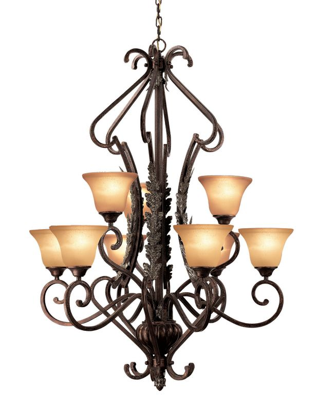 Woodbridge Lighting 12061 Hawthorne 9 Light Aged Bark Chandelier Aged