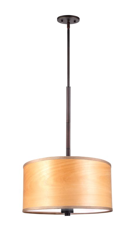 "Woodbridge Lighting 13420MEB-SV1180N 37"" Height 3 Light Drum Pendant"