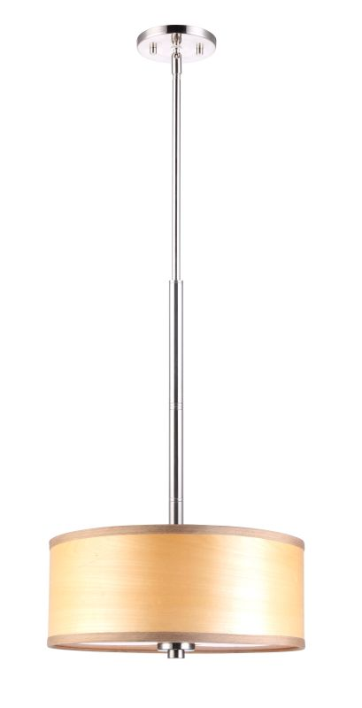 "Woodbridge Lighting 13420STN-SV1150N 35"" Height 3 Light Drum Pendant"