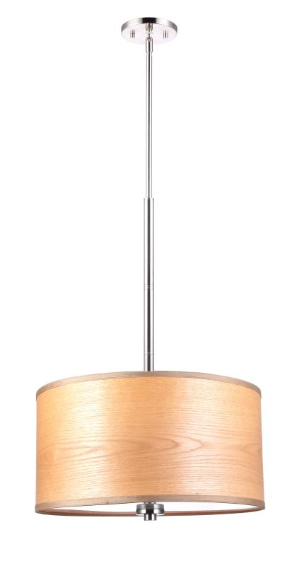 "Woodbridge Lighting 13420STN-SV1180B 37"" Height 3 Light Drum Pendant"
