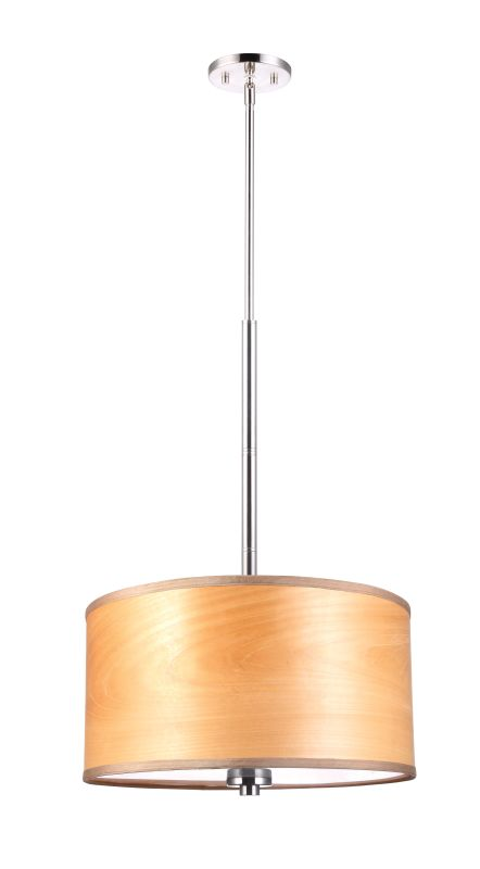 "Woodbridge Lighting 13420STN-SV1180N 37"" Height 3 Light Drum Pendant"
