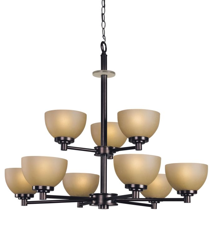 Woodbridge Lighting 10067-CDV 9 Light Up Light Two Tier Chandelier