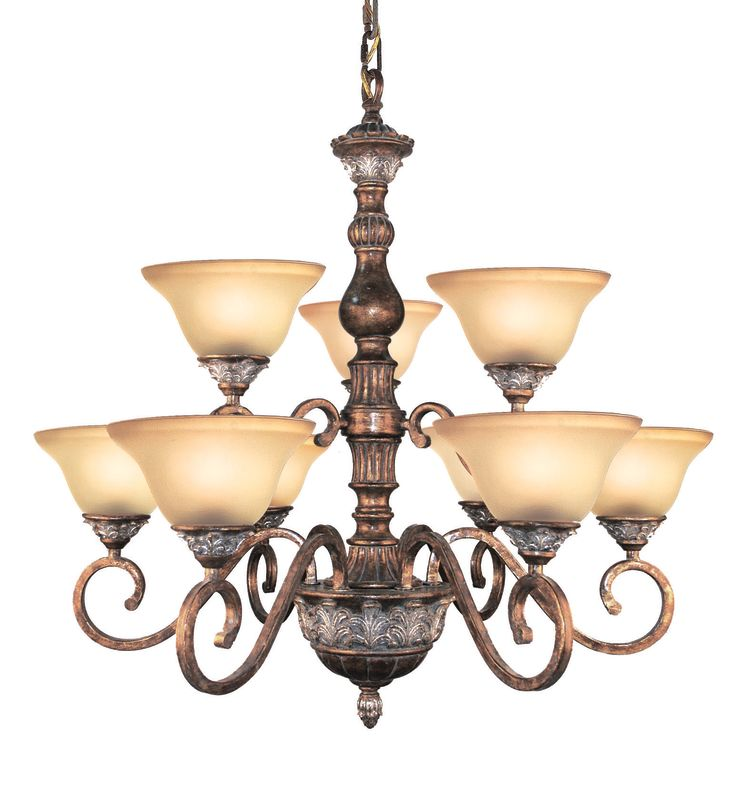 Woodbridge Lighting 12042-BRK 9 Light Up Light Two Tier Chandelier Sale $492.80 ITEM: bci1860205 ID#:12042-BRK :