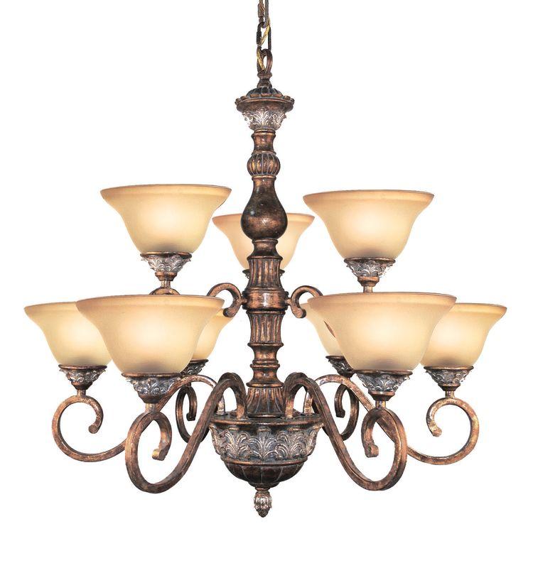 Woodbridge Lighting 12042-BRK 9 Light Up Light Two Tier Chandelier
