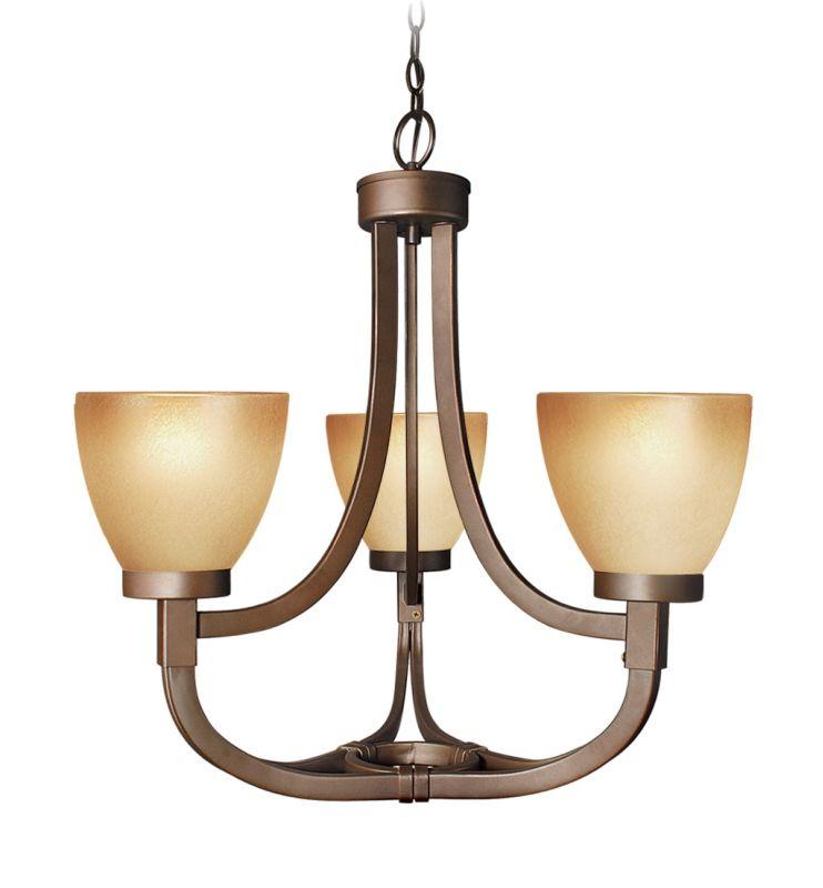 Woodbridge Lighting 12145-BRZ 3 Light Up Light Single Tier Chandelier