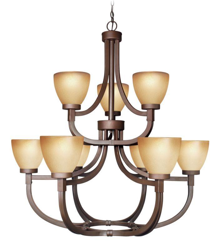 Woodbridge Lighting 12147-BRZ 9 Light Up Light Two Tier Chandelier