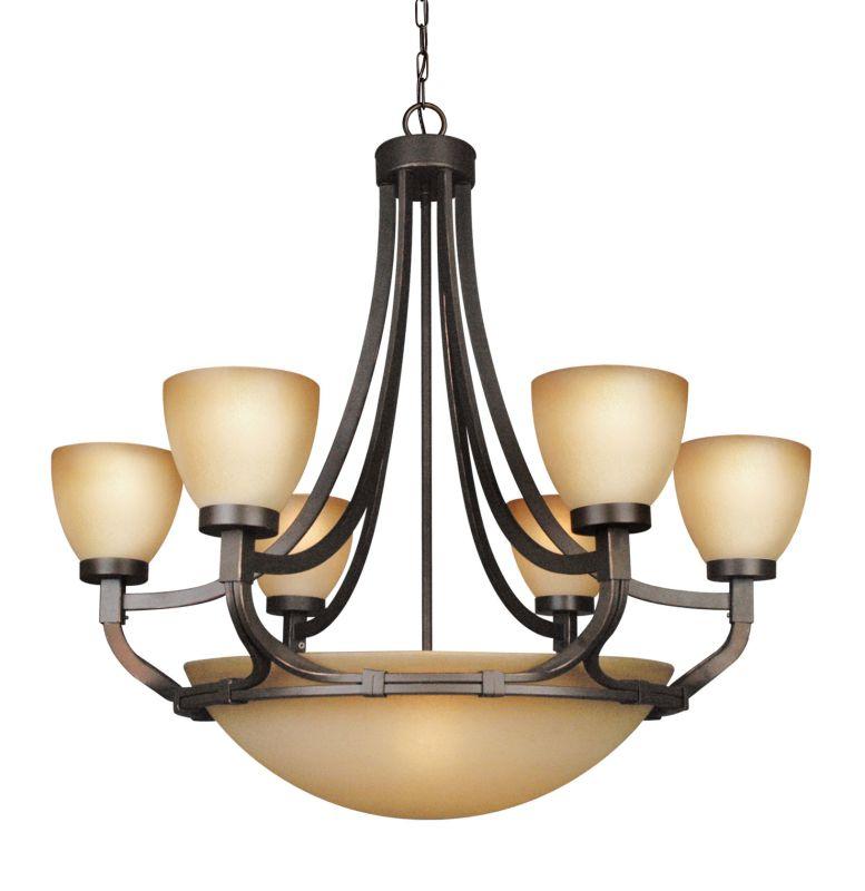 Woodbridge Lighting 12148-BRZ 9 Light Up Light Two Tier Chandelier