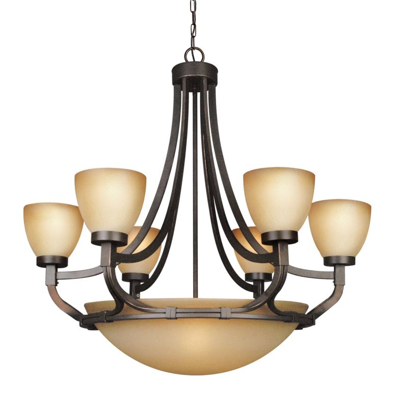 Woodbridge Lighting 12148-BRZ 9 Light Up Light Single Tier Chandelier