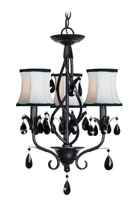 Woodbridge Lighting 12155-BLK 3 Light Up Light Single Tier Chandelier