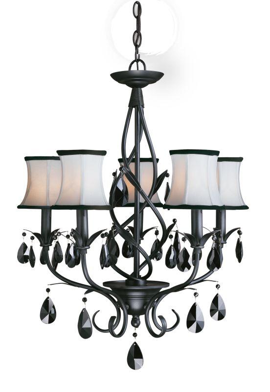 Woodbridge Lighting 12156-BLK 5 Light Up Light Single Tier Chandelier