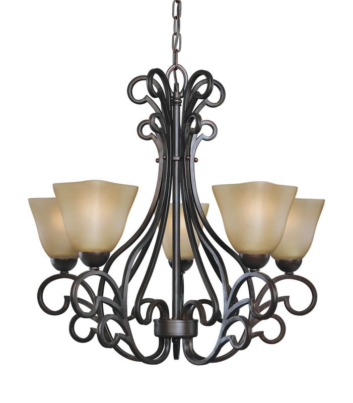Woodbridge Lighting 12166-BOR 5 Light Up Light Single Tier Chandelier