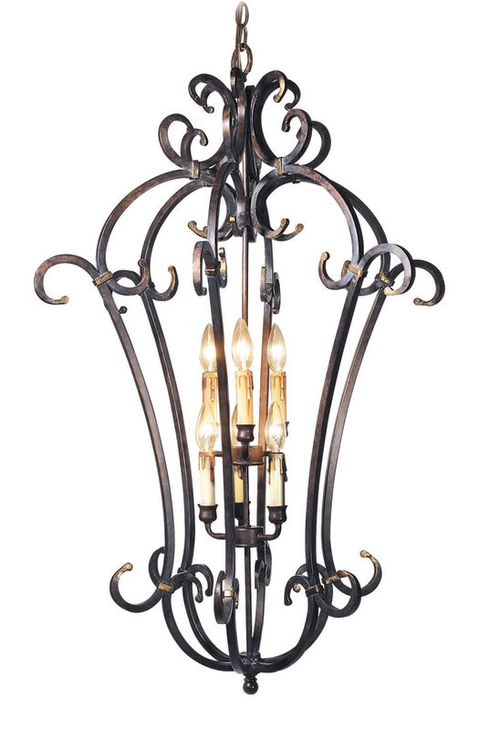 Woodbridge Lighting 25007-AUB 6 Light Up Light Foyer Pendant from the