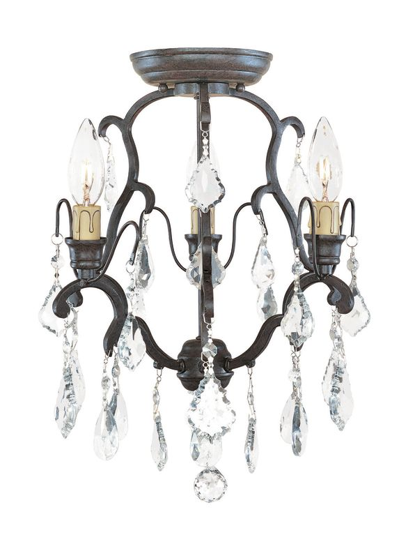 World Imports WI2613 Crystal Semi-Flush Ceiling Fixture from the