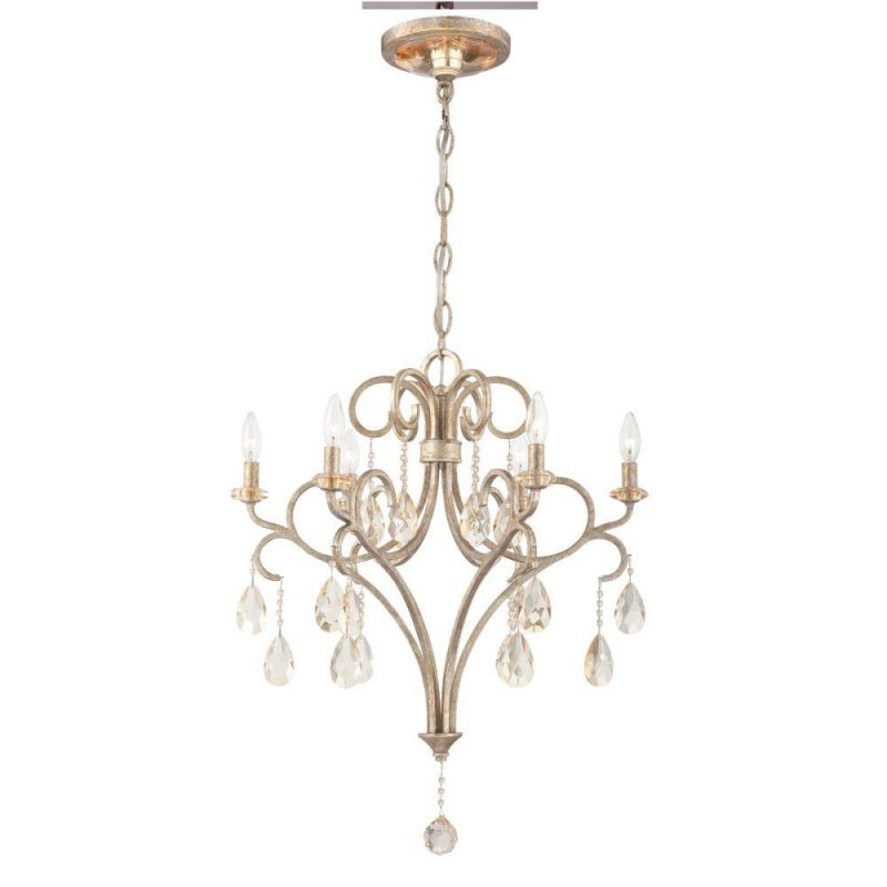 World Imports WI23077 Caruso 6 Light 1 Tier Chandelier Silver Indoor