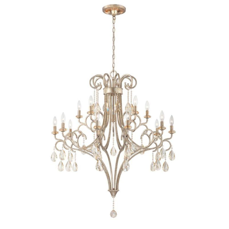 World Imports WI23079 Caruso 15 Light 3 Tier Chandelier Silver Indoor