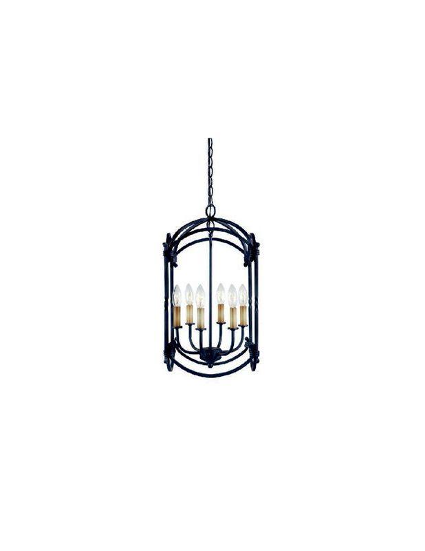 World Imports WI6140842 Hastings 6 Light Lantern Pendant Rust Indoor