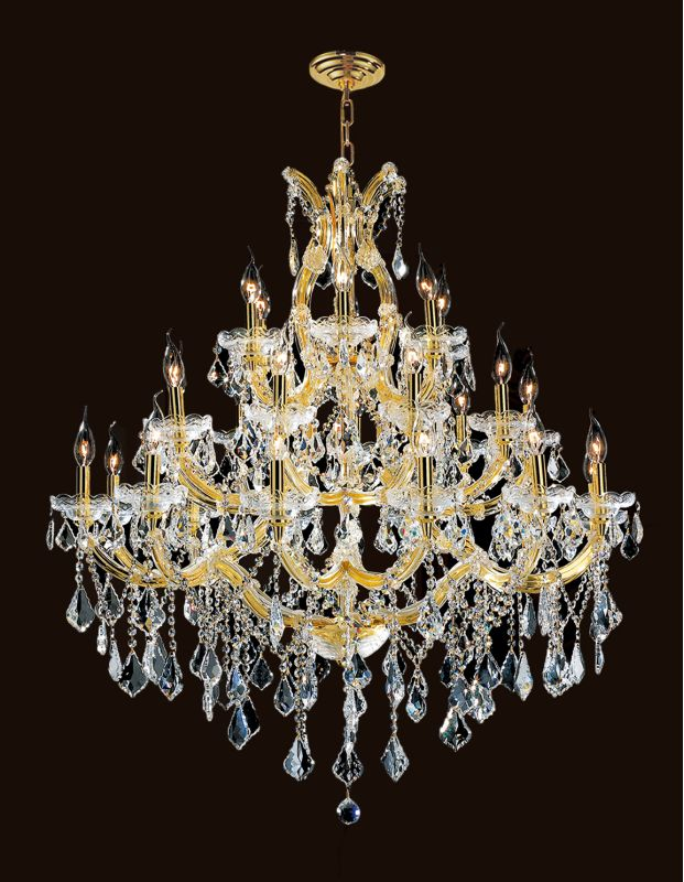 "Worldwide Lighting W83003G38 Maria Theresa 28 Light 3 Tier 38"" Gold"