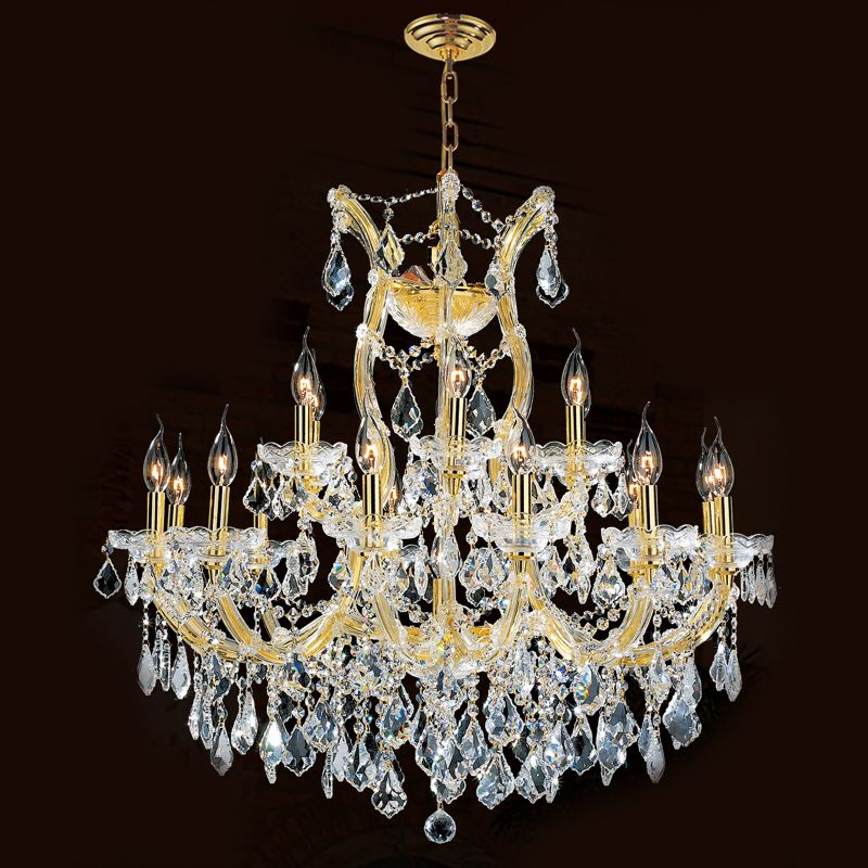 "Worldwide Lighting W83005G30 Maria Theresa 19 Light 2 Tier 30"" Gold"