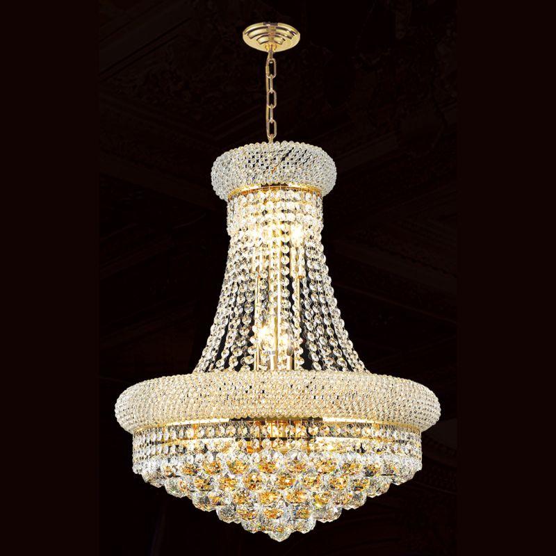 "Worldwide Lighting W83030G16 Empire 8 Light 1 Tier 16"" Gold Chandelier"