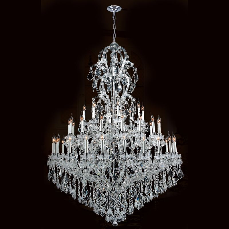 "Worldwide Lighting W83067C52 Maria Theresa 48 Light 3 Tier 52"" Chrome"