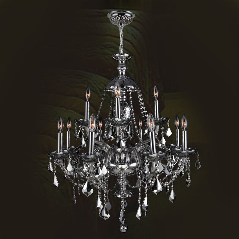 Worldwide Lighting W83101C28-CH Provence 12 Light Candle Style Crystal