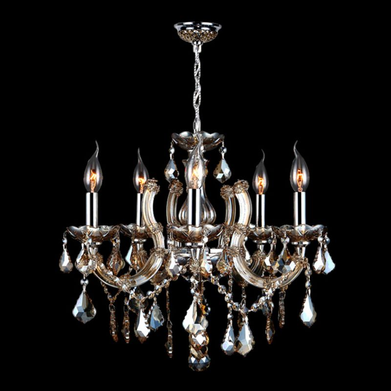 Worldwide Lighting W83120C18-GT Catherine 5 Light Candle Style Crystal