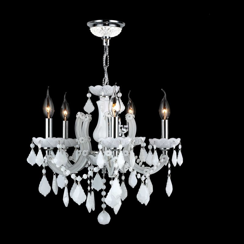 Worldwide Lighting W83120C18-WH Catherine 5 Light Candle Style Crystal
