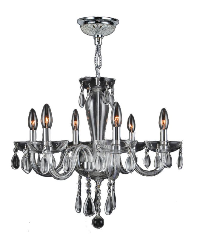 Worldwide Lighting W83128C22-CL Gatsby 6 Light Candle Style Crystal